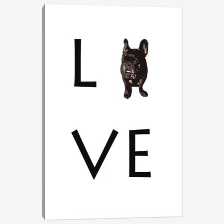 Love Your Dog Frenchie Black Canvas Print #SAP86} by Sketch and Paws Canvas Print