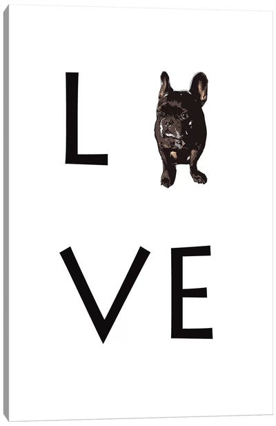 Love Your Dog Frenchie Black Canvas Art Print