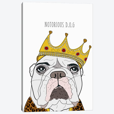 Notorious Dog Canvas Print #SAP92} by Sketch and Paws Canvas Art Print