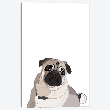 Pug Canvas Print #SAP94} by Sketch and Paws Canvas Art