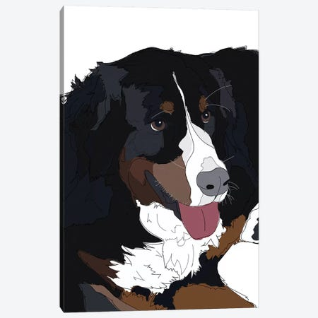 Bernese Mountain Dog II Canvas Print #SAP9} by Sketch and Paws Canvas Wall Art