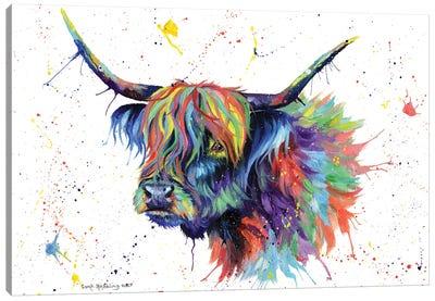 Multicolor Highland Cow Canvas Art Print