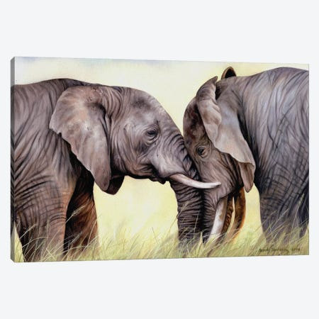 African Elephants Canvas Print #SAS1} by Sarah Stribbling Art Print