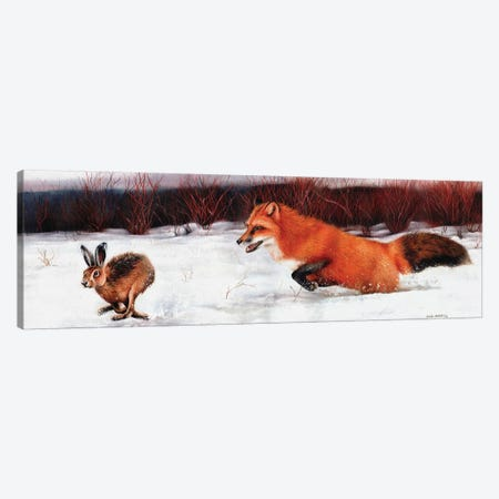 Fox And Hare Canvas Print #SAS38} by Sarah Stribbling Canvas Artwork