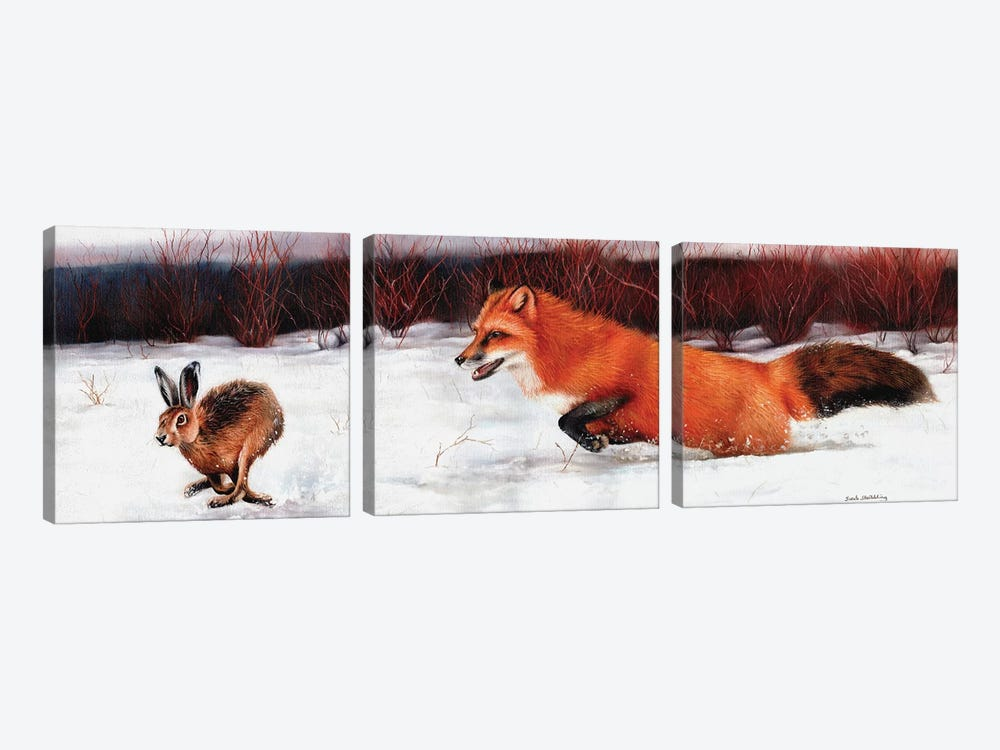 Fox And Hare by Sarah Stribbling 3-piece Canvas Art
