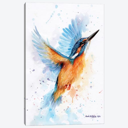 Kingfisher Watercolour Canvas Print #SAS57} by Sarah Stribbling Art Print