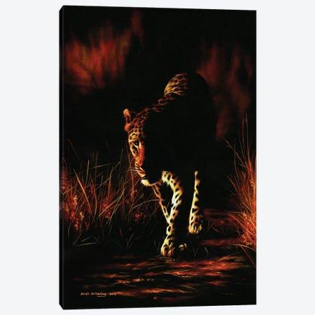 Leopard Walking Canvas Print #SAS60} by Sarah Stribbling Art Print