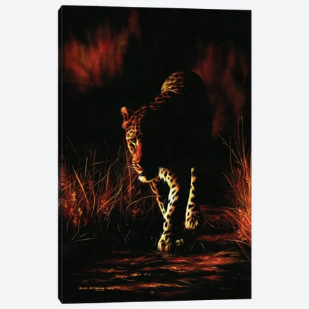 Leopard Walking Canvas Print #SAS60} by Sarah Stribbling Art Print