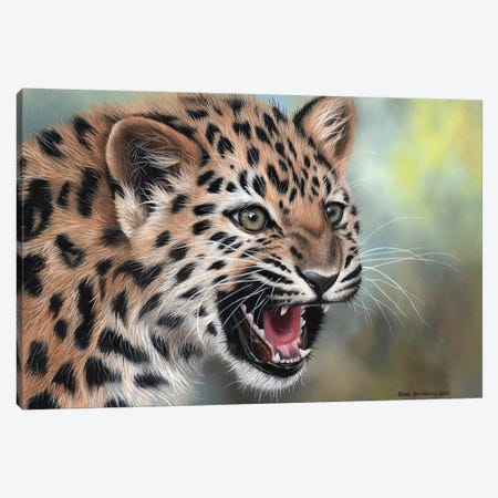Leopard Cub II Canvas Print #SAS64} by Sarah Stribbling Canvas Artwork