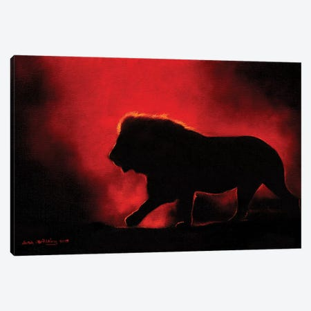 Lion Twilight III Canvas Print #SAS69} by Sarah Stribbling Canvas Art Print