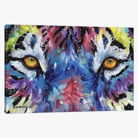 Multicolour Tiger Eyes Canvas Print #SAS73} by Sarah Stribbling Canvas Wall Art