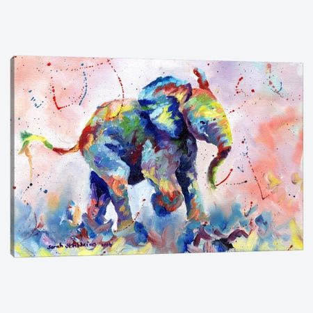 Baby Elephant Canvas Print #SAS7} by Sarah Stribbling Canvas Wall Art