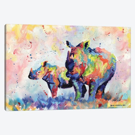 Rhinos Canvas Print #SAS83} by Sarah Stribbling Art Print