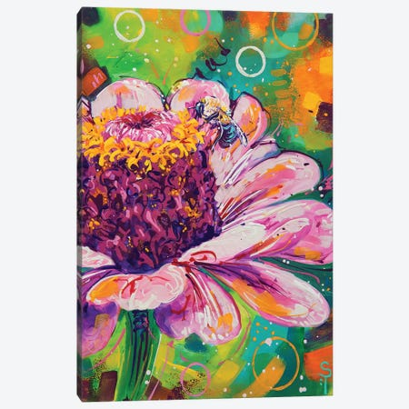 Flower And The Bee Canvas Print #SAT16} by Sandra Trubin Canvas Art