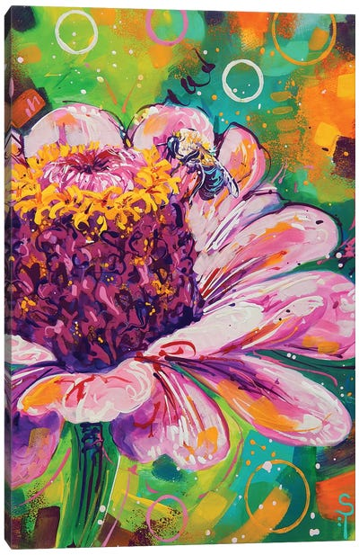 Flower And The Bee Canvas Art Print