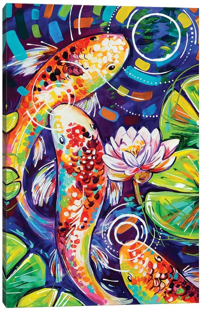Three Koi In A Pond Canvas Art Print
