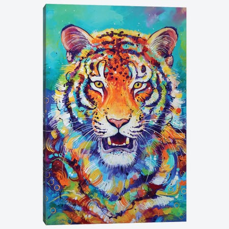 Tiger In Style 3-Piece Canvas #SAT34} by Sandra Trubin Canvas Wall Art