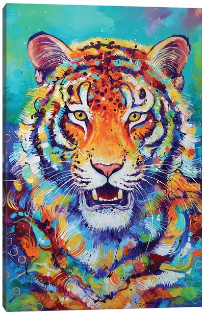 Tiger In Style Canvas Art Print