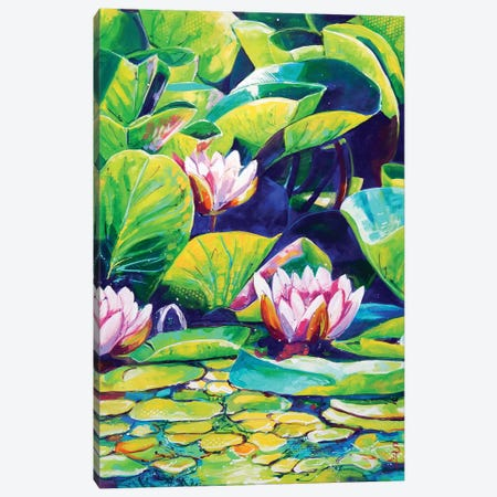 Waterlily Pond Canvas Print #SAT38} by Sandra Trubin Canvas Print