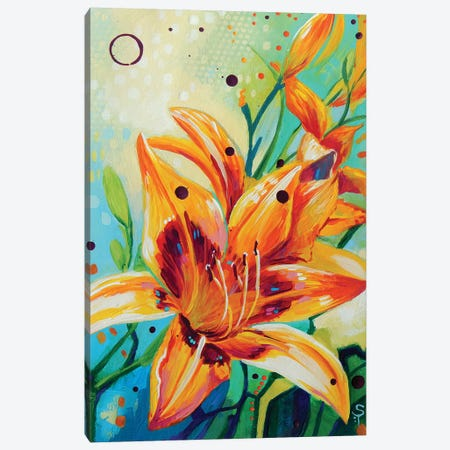 Yellow Lilies Canvas Print #SAT40} by Sandra Trubin Canvas Wall Art
