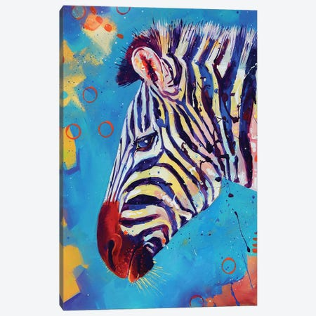 Zebra Canvas Print #SAT41} by Sandra Trubin Canvas Art