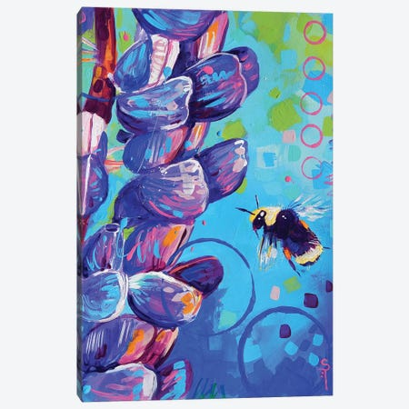 Bumblebee and the Flower Canvas Print #SAT5} by Sandra Trubin Art Print