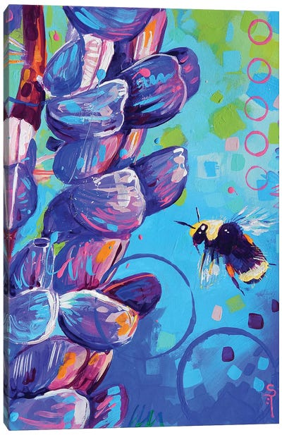 Bumblebee and the Flower Canvas Art Print