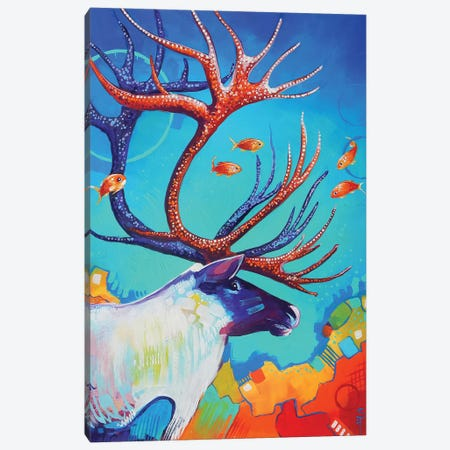 Caribou and the Fish Canvas Print #SAT8} by Sandra Trubin Canvas Artwork