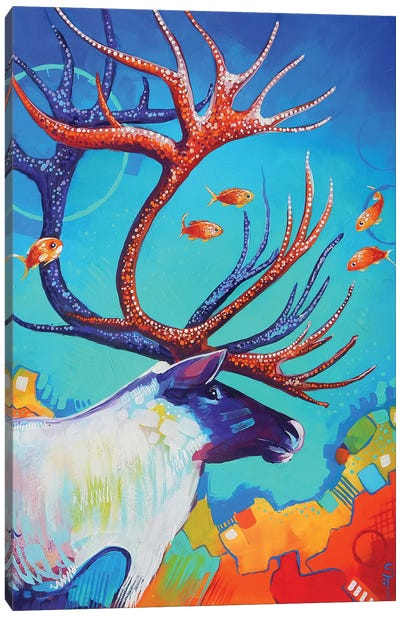 Caribou and the Fish Canvas Art Print