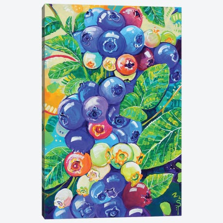 Colorful Blueberries Canvas Print #SAT9} by Sandra Trubin Canvas Artwork