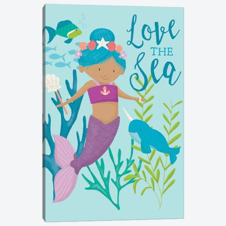 Mermaid At Heart I Canvas Print #SAU17} by Dana Saulnier Canvas Art Print