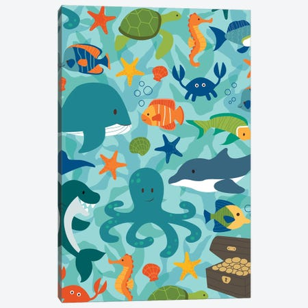 Sea Creatures Canvas Print #SAU19} by Dana Saulnier Canvas Wall Art
