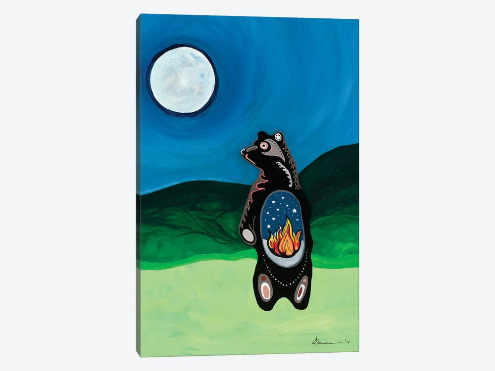 Bear Guards The Fire II by Sam Zimmerman 1-piece Canvas Print