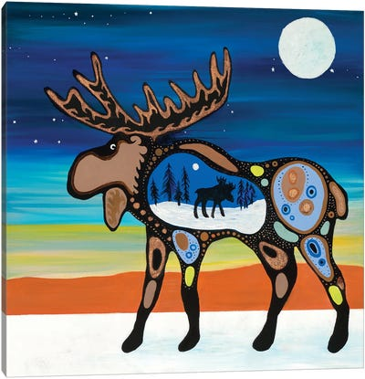Grandfather's Moose Canvas Art Print