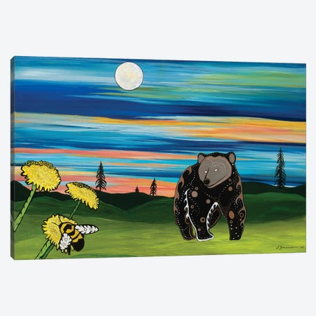 The Bear And The Bee Canvas Print #SAZ28} by Sam Zimmerman Canvas Art