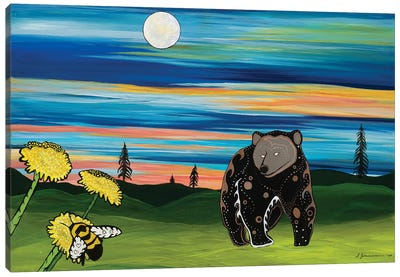 The Bear And The Bee Canvas Art Print