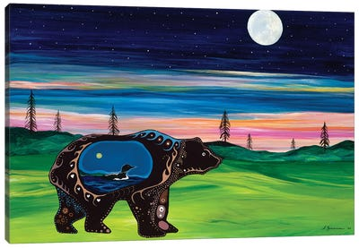 Bear Guides The Family Canvas Art Print