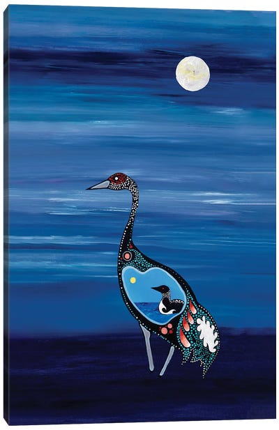 Loon And Crane Canvas Art Print