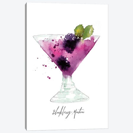 Blackberry Martini Canvas Print #SBE14} by Sara Berrenson Art Print