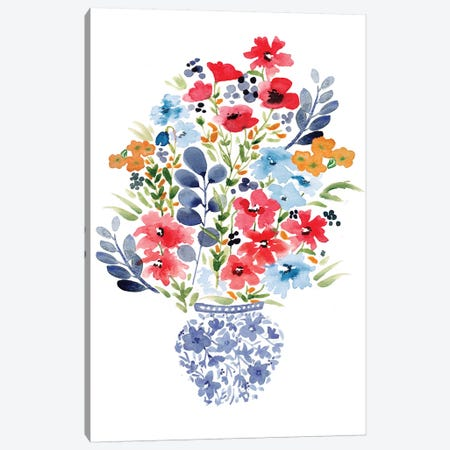 Chinoiserie Floral Canvas Print #SBE17} by Sara Berrenson Canvas Art Print
