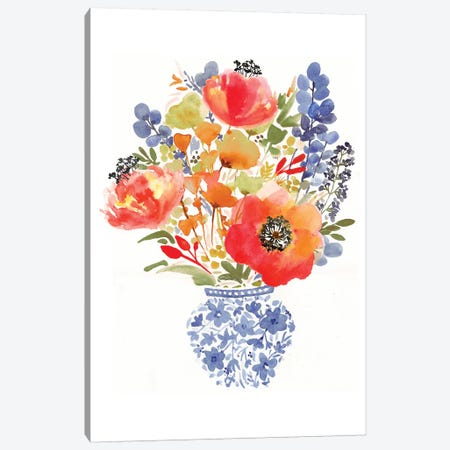 Chinoiserie Poppy Canvas Print #SBE18} by Sara Berrenson Canvas Wall Art