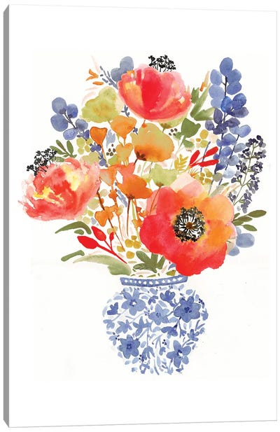 Chinoiserie Poppy Canvas Art Print