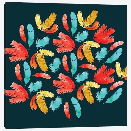 Feathers Dark Canvas Print #SBE24} by Sara Berrenson Canvas Wall Art