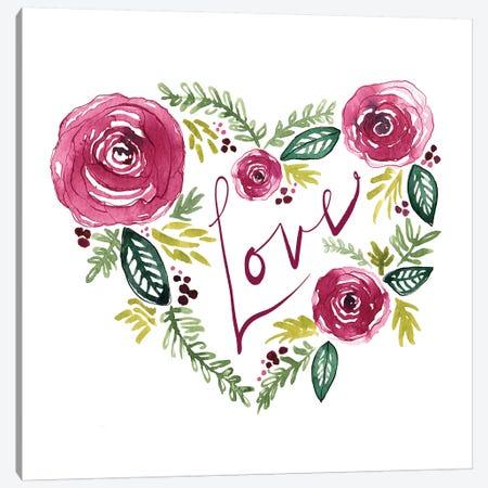 Heart Floral II Canvas Print #SBE30} by Sara Berrenson Canvas Art