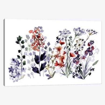 Indigo Wildflowers Canvas Print #SBE33} by Sara Berrenson Canvas Artwork