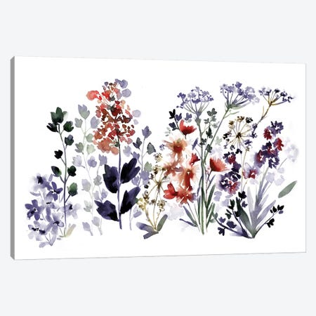 Indigo Wildflowers Canvas Print #SBE33} by Sara Berrenson Canvas Artwork