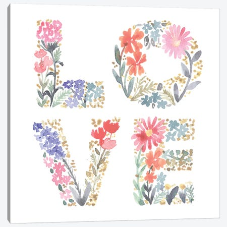 Love Flowers Canvas Print #SBE36} by Sara Berrenson Canvas Art Print
