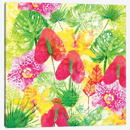 Tropical Flowers Canvas Print #SBE49} by Sara Berrenson Art Print