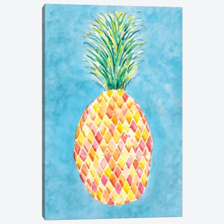 Pineapple Blue Canvas Print #SBE50} by Sara Berrenson Canvas Artwork