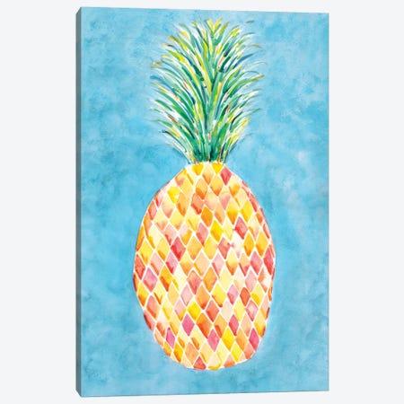 Pineapple Blue Canvas Print #SBE50} by Sara Berrenson Canvas Artwork